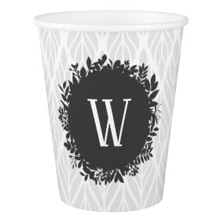Light Gray and White Leafy Pattern Monogram Paper Cup