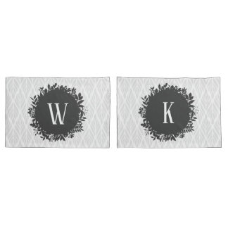 Light Gray and White Leafy Pattern Monogram Pillowcase