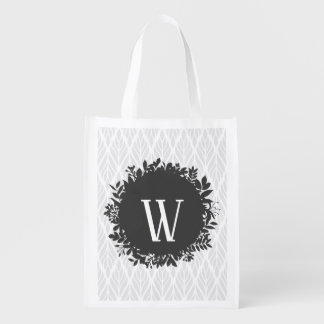 Light Gray and White Leafy Pattern Monogram Reusable Grocery Bag