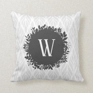 Light Gray and White Leafy Pattern Monogram Throw Pillow