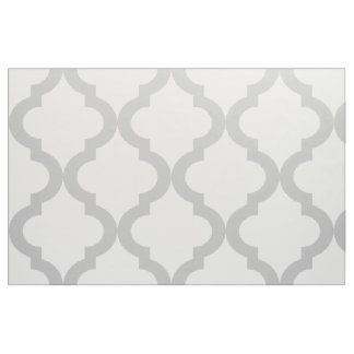 Light Gray and White Moroccan Quatrefoil Print Fabric
