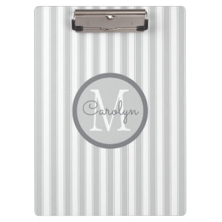 Light Gray and White Pinstriped Personalized Clipboard