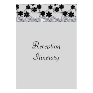 Light Gray & Black Flowers Diamond Shimmer Wedding Large Business Card