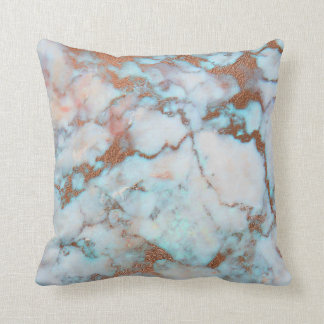 Light Gray Blue And Brown Marble Throw Pillow
