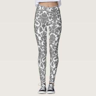 Light Gray Floral Ornate Damask Pattern Leggings