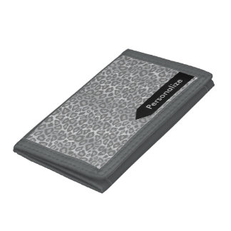 Light Gray Leopard Animal Skin Design Trifold Wallet