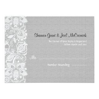 "Light Gray Linen Burlap  White Vintage Lace - RSVP 6.5"" X 8.75"" Invitation Card"