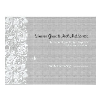 Light Gray Linen Burlap  White Vintage Lace - RSVP Card
