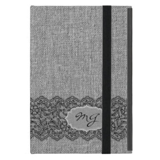 Light Gray Natural Linen & Black Vintage Lace Cover For iPad Mini