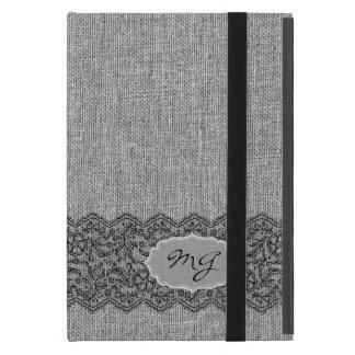 Light Gray Natural Linen & Black Vintage Lace Cover For iPad Mini