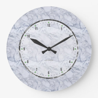 Light Gray Natural Marble Stone Pattern Large Clock