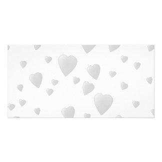 Light Gray Pattern of Love Hearts. Custom Photo Card