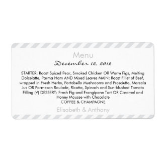 light gray stripes wedding menu shipping label