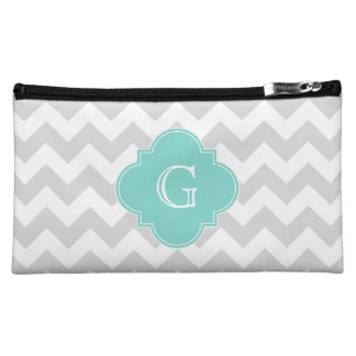 Light Gray White Chevron Aqua Quatrefoil Monogram Cosmetic Bags