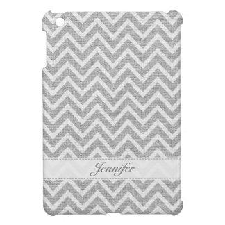 Light Gray & White Chevron Pattern Linen Look 2 iPad Mini Cover