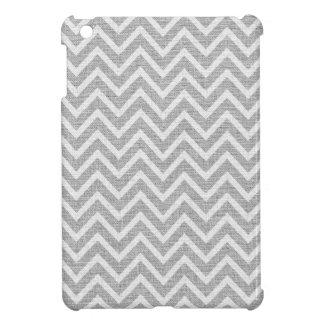 Light Gray & White Chevron Pattern Linen Look 2 iPad Mini Covers
