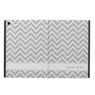 Light Gray & White Chevron Pattern Linen Look Case For iPad Air