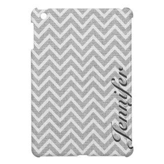 Light Gray & White Chevron Pattern Linen Look iPad Mini Cover