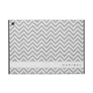 Light Gray & White Chevron Pattern Linen Look iPad Mini Covers