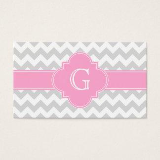 Light Gray White Chevron Pink Quatrefoil Monogram Business Card