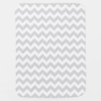 Light Gray White Chevron Zig-Zag Pattern Baby Blanket