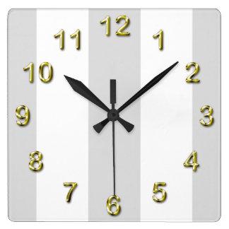 Light Gray White Huge Stripes Clocks