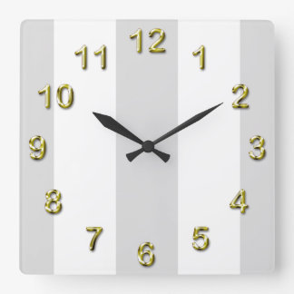 Light Gray White Huge Stripes Square Wall Clock
