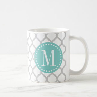 Light Gray & White Moroccan Pattern with Monogram Coffee Mug