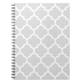 Light Gray White Moroccan Quatrefoil Pattern #5 Spiral Notebook