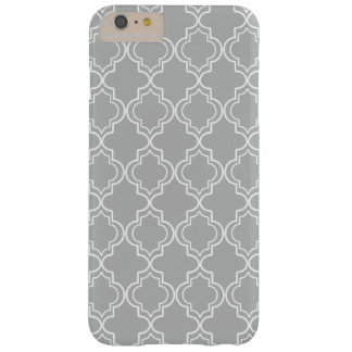 Light Gray White Moroccan Quatrefoil Pattern Barely There iPhone 6 Plus Case
