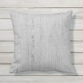 Light Gray Whitewashed Barn Wood Outdoor Pillow