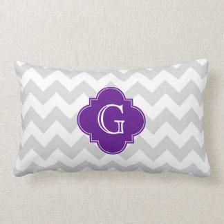 Light Gray Wht Chevron Purple Quatrefoil Monogram Throw Pillow