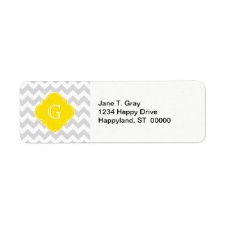 Light Gray Wht Chevron Yellow Quatrefoil Monogram