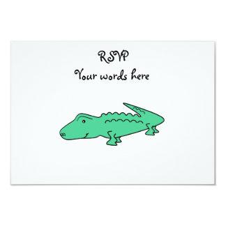 Light green alligator 3.5x5 paper invitation card