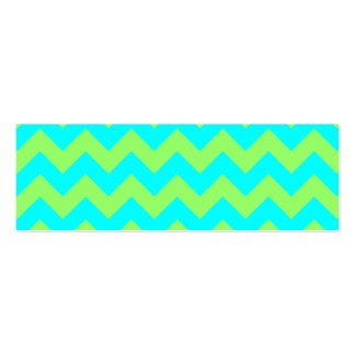 Light Green and Aqua Zigzag Pack Of Skinny Business Cards