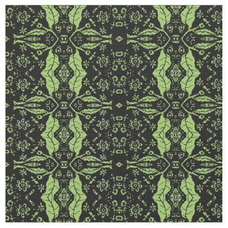 Light Green and Black Folk Floral Fabric
