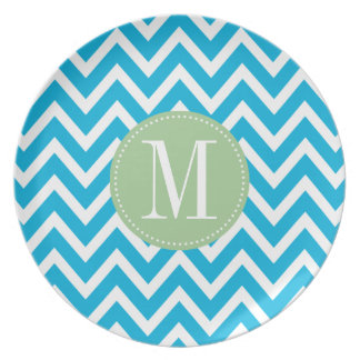 Light Green and Blue Chevron Custom Monogram Party Plate