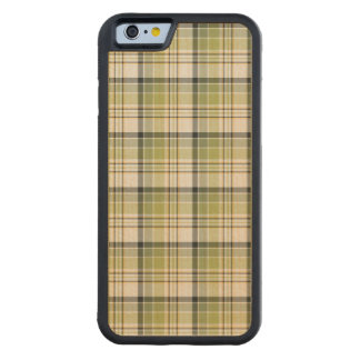 Light Green and Blue Rustic Plaid Carved Maple iPhone 6 Bumper Case