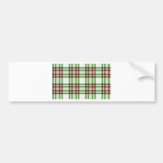 Light Green and Brown Striped Plaid Design Bumper Sticker