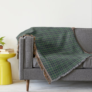 Light Green and Navy Clan Taylor Scottish Plaid Throw Blanket