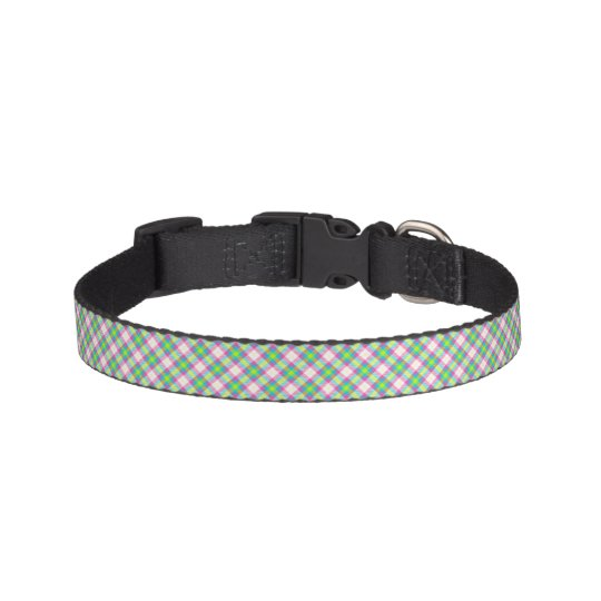 Light Green and Pink Plaid Dog Collar