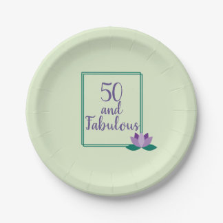 """Light Green and Purple """"50 and Fabulous"""" Birthday Paper Plate"""