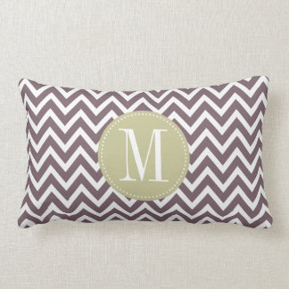Light Green and Purple Chevron Custom Monogram Pillow