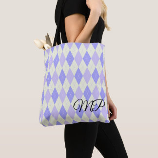 Light Green and Shades of Purple Argyle Pattern Tote Bag