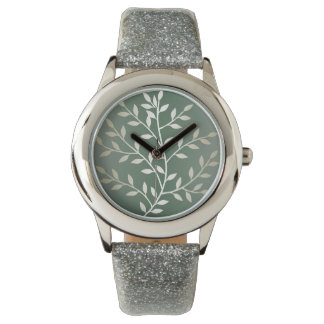 Light Green And Silver Elegant Leafy Branches Watch