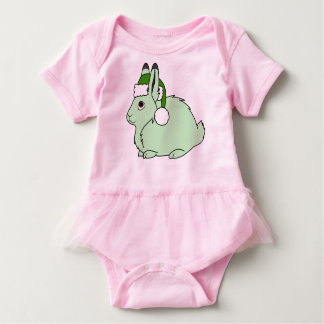 Light Green Arctic Hare with Green Santa Hat Baby Bodysuit