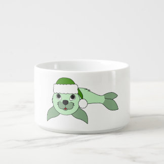 Light Green Baby Seal with Green Santa Hat Chili Bowl