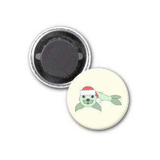 Light Green Baby Seal with Red Santa Hat 1 Inch Round Magnet