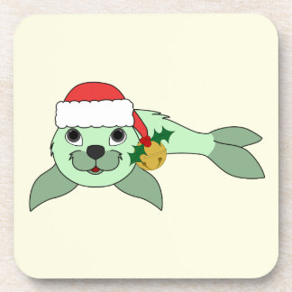 Light Green Baby Seal with Santa Hat & Gold Bell Drink Coaster