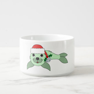 Light Green Baby Seal with Santa Hat & Silver Bell Chili Bowl